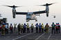 A US V-22 Osprey tiltrotor lands aboard HMS Illustrious in 2013. Crown copyright