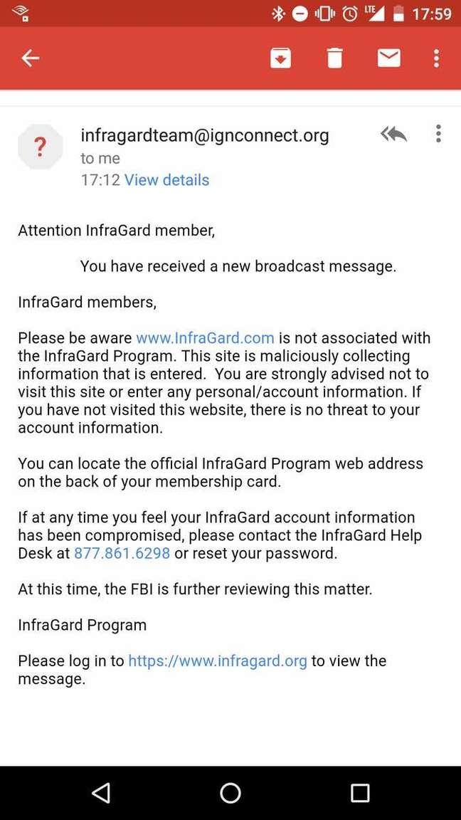 Phish sent to Infragard members