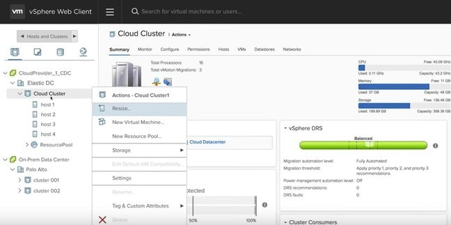 The vSphere Web Client spanning on-prem and AWS resources