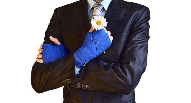 Boxer suit flowers photo via Shutterstock