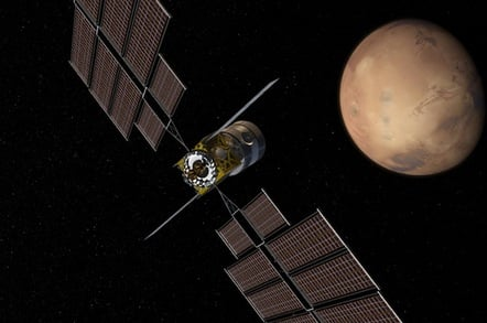 Boeing's concept illustration of a Deep Space Transport at Mars