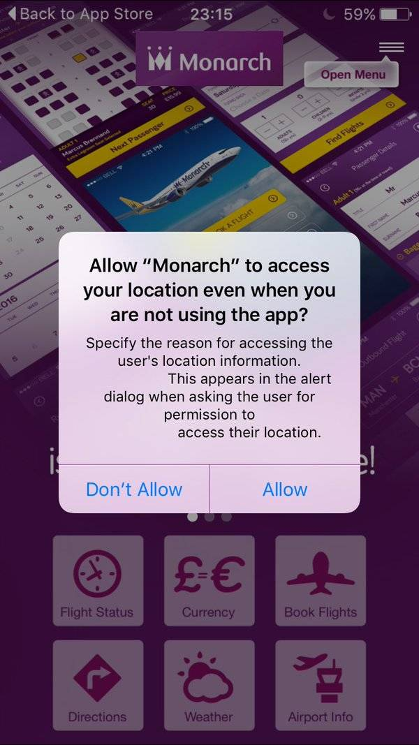 Monarch airlines app