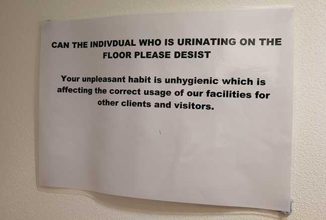 Urinal notice