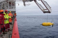 Boaty McBoatface being lowered from RRS James Clark Ross