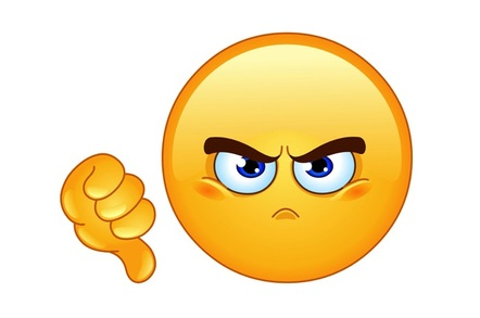 Thumbs down frownining emoticon