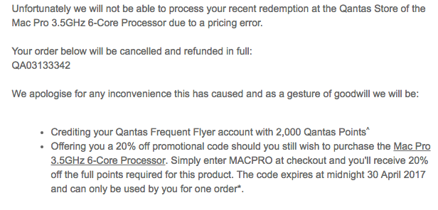 Qantas apology for super-cheap Mac Pro