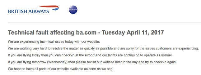 BA website down