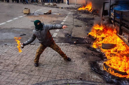 A person rioting in protest