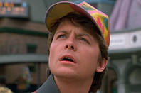 Back to the Future screengrab michael j fox in a luminous coloured peak cap