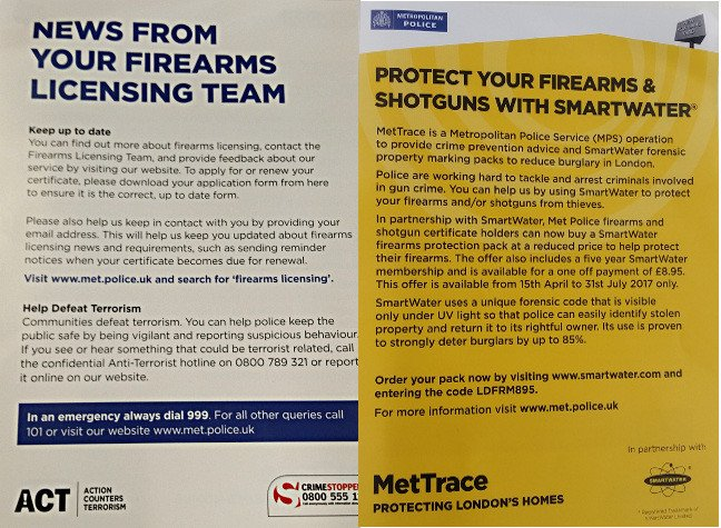 The front and reverse of that Met Police Smartwater firearms leaflet