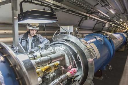 Working on LHC photo copyright CERN