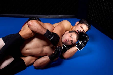 Cage fighter in a choke hold