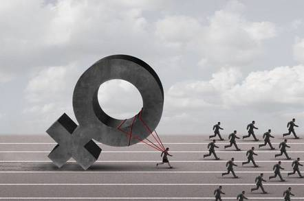 image of race with one running slowed by gender