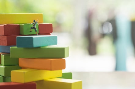 """Little climbers move up a """"stack"""" of coloured blocks. Pic by SHutterstock"""