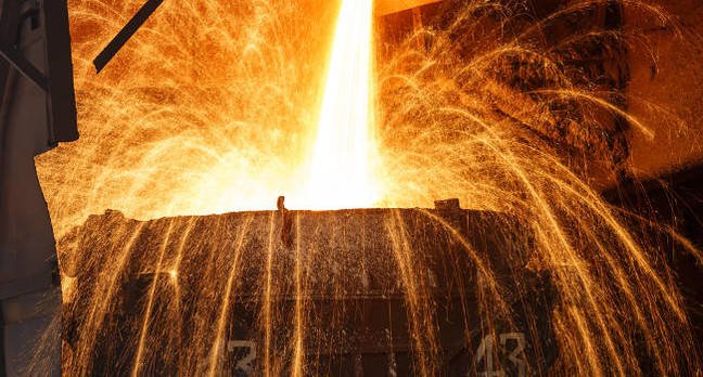 A blast furnace smelting steel