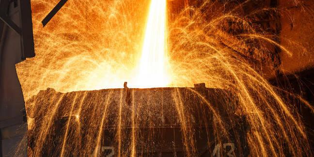A blast furnace smelting steel