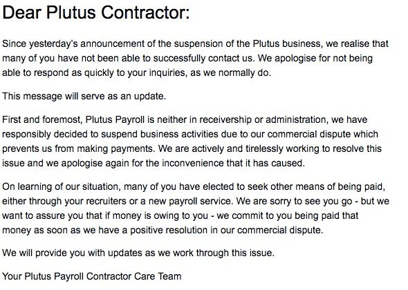 Plutus Payroll letter to contractors