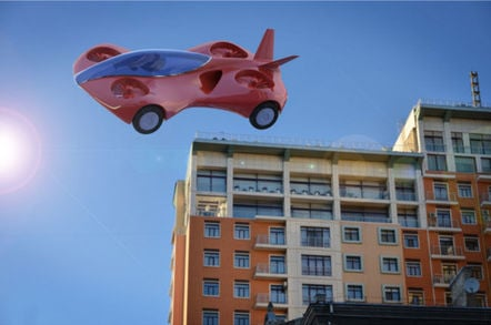 Flying car illustration. Pic by Shutterstock