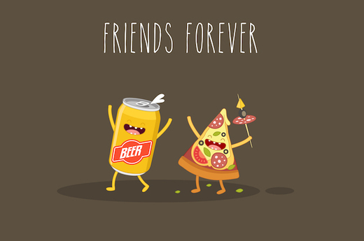 Pizza and beer - friends forever