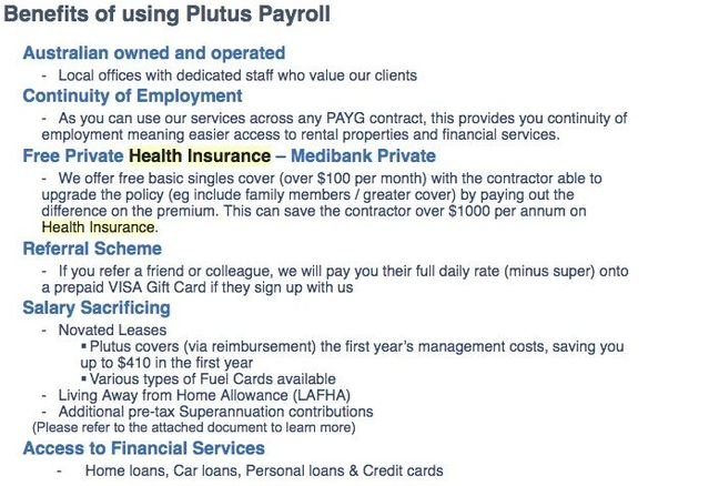An email from a Plutus Payroll worker to a prospect