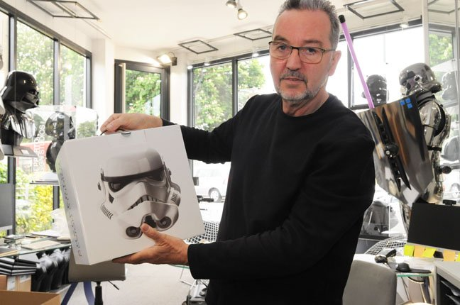 Andrew Ainsworth stormtrooper helmet in box photo Gavin Clarke