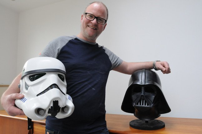 Mark Edwards with stormtrooper and Vader photo by Gavin Clarke