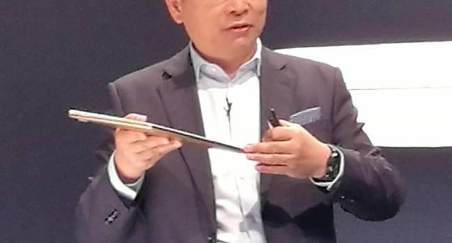 Huawei's Richard Yu shows off the MateBook X