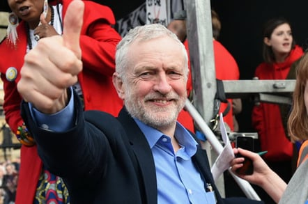 Corbyn thumbs up photo via Shutterstock