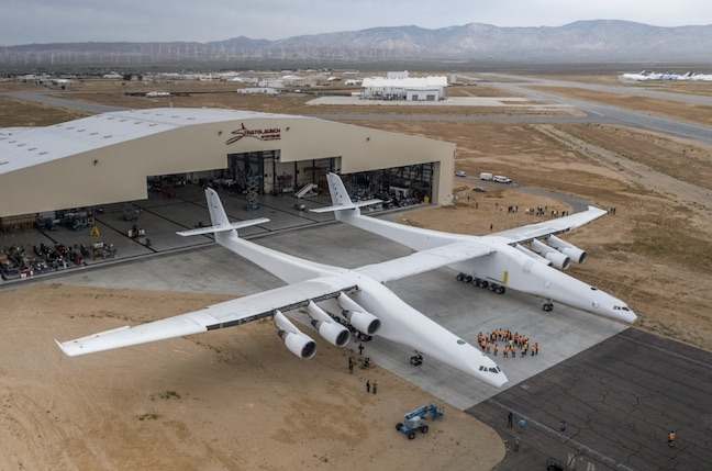 Stratolaunch emerging from its hangar