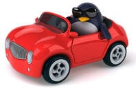 Penguin in a car