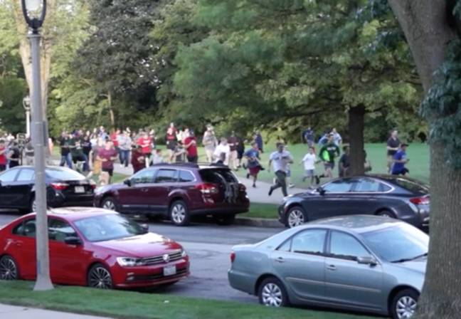 Lake Park, as Pokémon Go players arrive