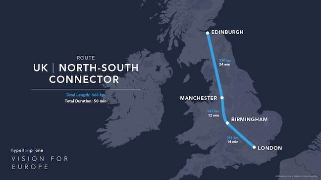 Hyperloop One's proposed North-South route