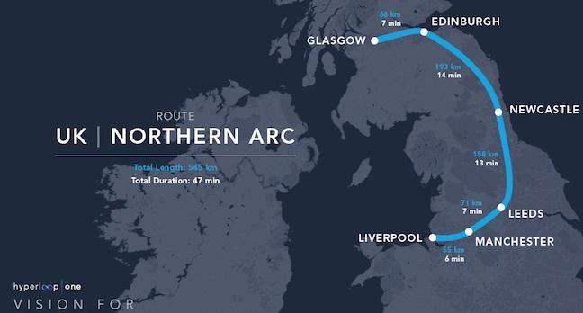 Hyperloop One's proposed Northern UK arc