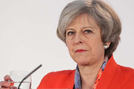 Theresa May glass of water photo via Shutterstock