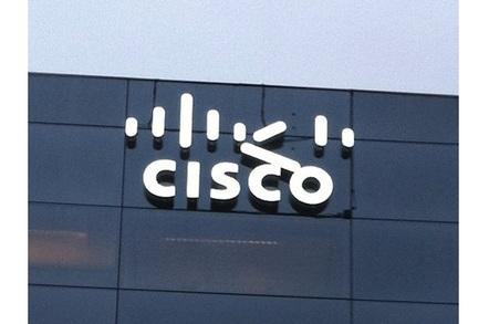 Cisco logo falling off Cisco building
