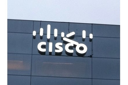 Cisco logo falling off Cisco building