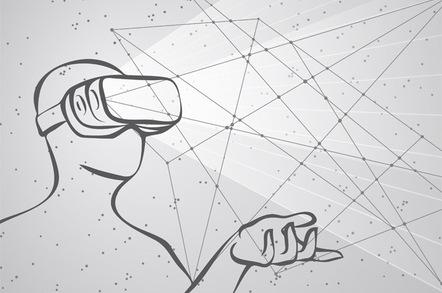 VR headset and data photo via Shutterstock