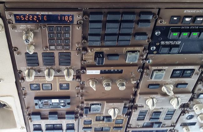 The captain's side of the overhead panel. Spot the mods for modern times!