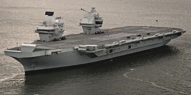 HMS Queen Elizabeth on her first sortie out of Rosyth, 26 June 2017. Crown copyright