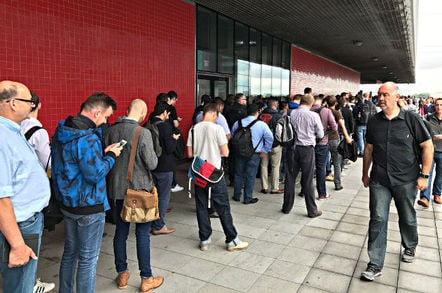 Queues outside AWS Summit 2017, held in London's Excel centre