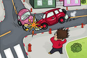 Cars crash, man looks on - illustration.