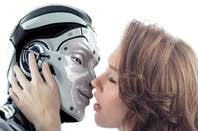 woman kissing robot