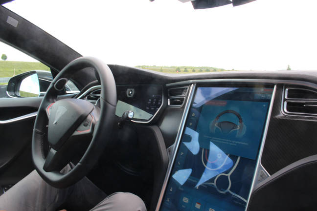 Bosch-Tesla driverless car driving. Pic: Rebecca Hill