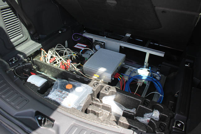Data processing kit in Bosch driverless car. Pic: Rebecca Hill