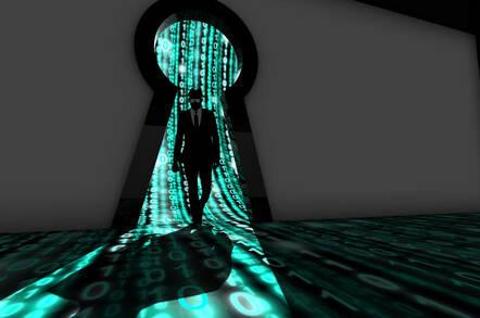 A silhouette walks through a keyhole leaking binary