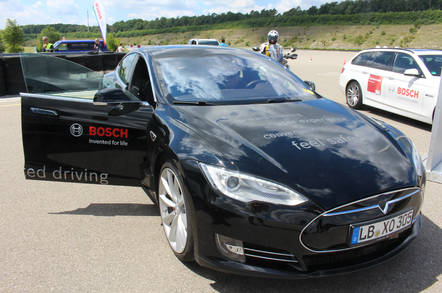 Tesla-Bosch driverless car level 3. Pic: Rebecca Hill
