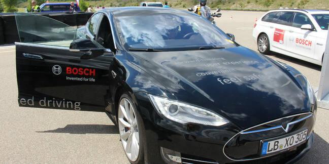 Tesla-Bosch driverless car level 3. Pic: Rebecca Hill
