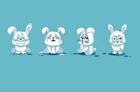 Cartoon rabbit feeling all the emotions.