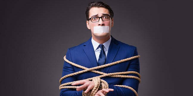 man mouth taped over - tied up