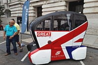 An RDM Group-made driverless pod, outside the FISITA Plus conference at London County Hall